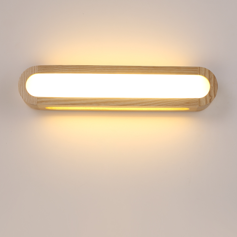 Creative Nordic Bedroom Wood Wall Light 12W AC110-240V Foyer Study Background Lamp Bathroom LED Mirror Light