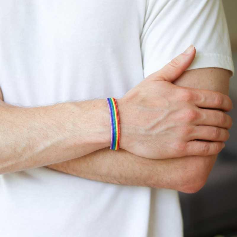 LGBT Arcobaleno Braccialetti per Gli Uomini Le Donne Colorato Amicizia Wristband Semplice Causale di Sport Da Polso Catena Adulti Gioielli