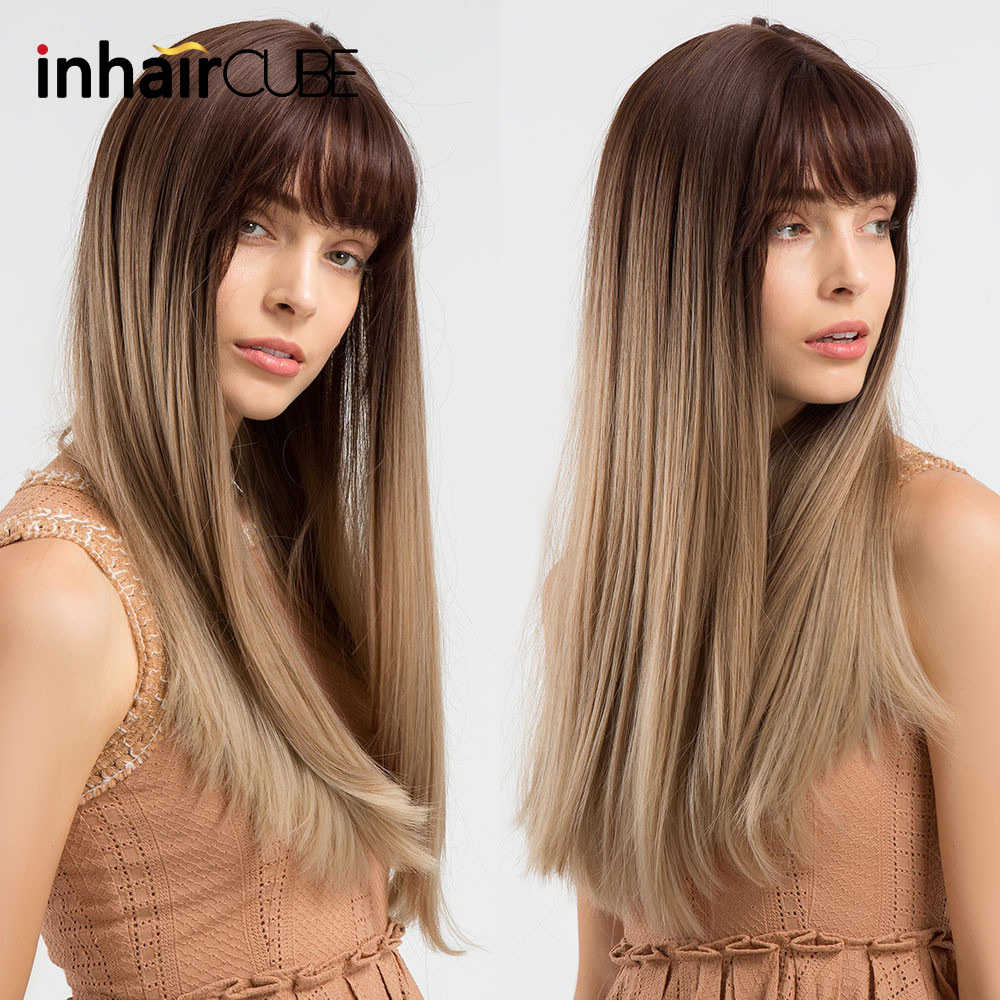 "INHAIR CUBE 22"" Women Synthetic Wigs Long Silky Straight Hair Middle Part Realistic Simulation Scalp Ombre Wig with Bangs"