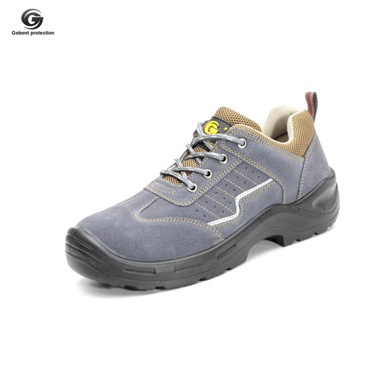 Casual Cowhide Smashing Anti Puncture Mountain Climbing Safety Shoes Gb-6624