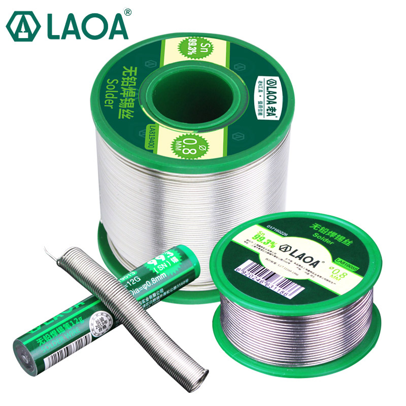 LAOA Electric Soldering Iron Welding Belt Rosin Core Tin 99.3% Contained High Purity Tin Active Lead-free Solder Wire 0.8mm
