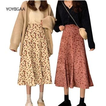 цена на Casual Women Midi Skirt Vintage Floral Print Corduroy Skirts Streetwear High Waist Women Skirt Zipper Design Ladies Midi Skirts