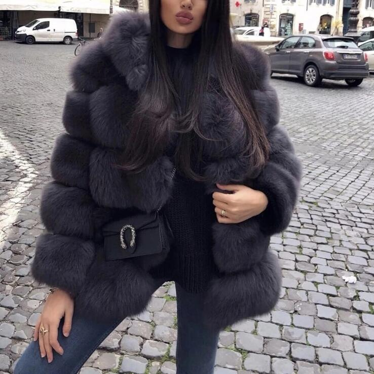 Genuo New Winter Coat Women Faux Fox Fur Coat Plus Size Women Warm Long Sleeve Faux Fur Jacket Hooded Fur Coat Overcoats