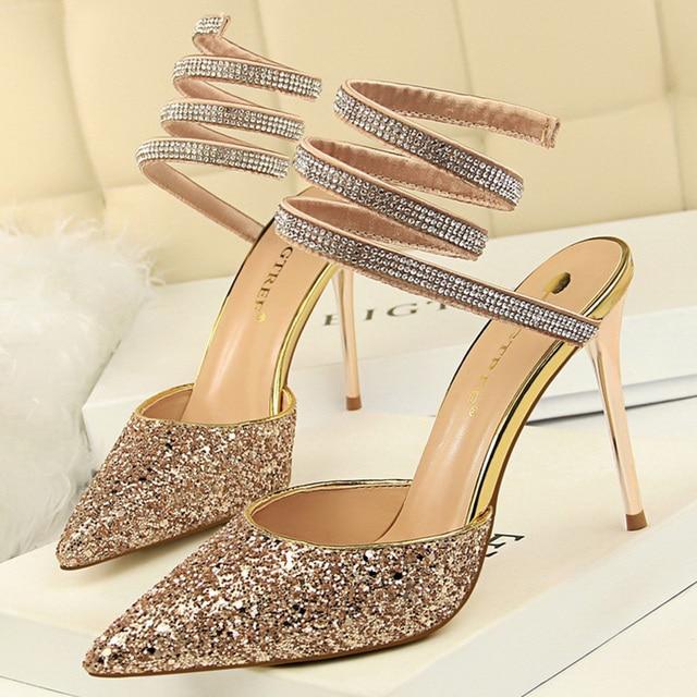 Summer Luxury High Heels Bling Sequin Sandals  3