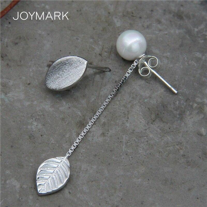 Matte Leaf 925 Sterling Silver Jewelry Earrings Ear Line Women Long And Short Asymmetrical Silver Stud Earrings Gift TSE483