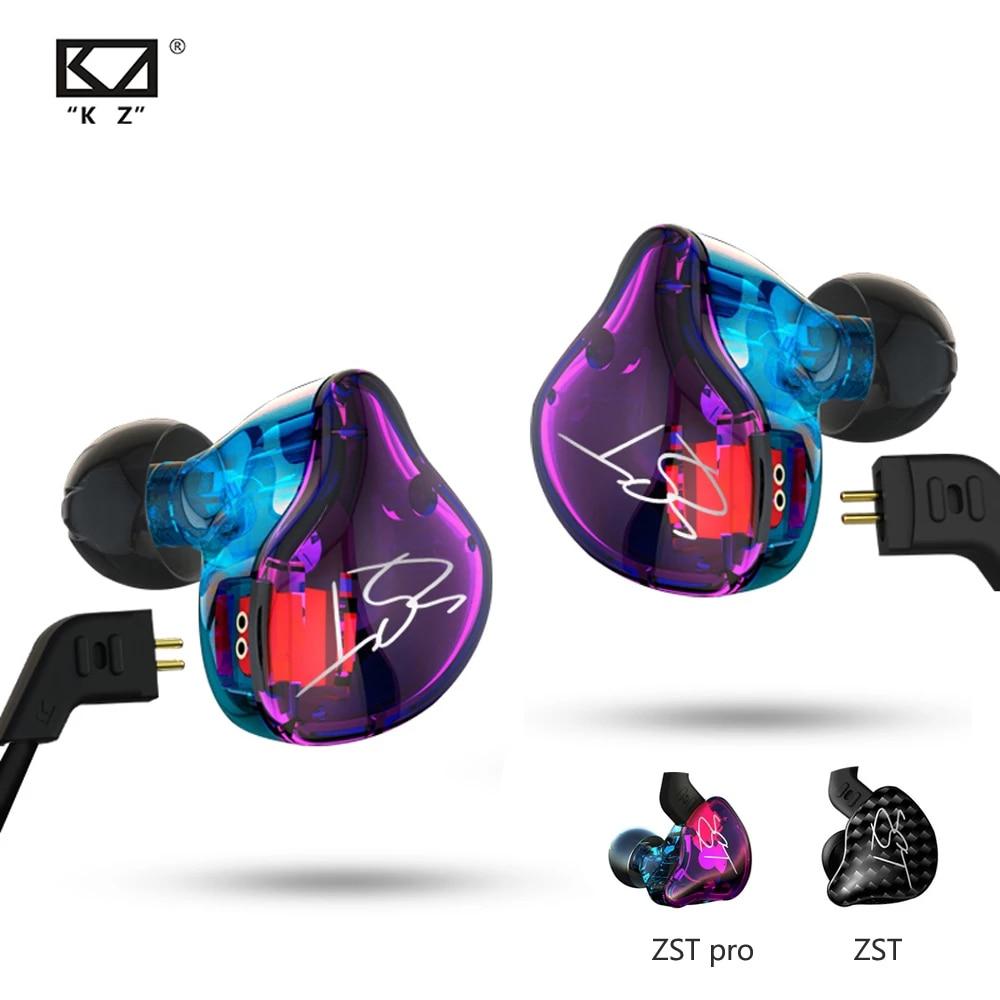 Наушники-вкладыши KZ ZST Pro музыкальные спортивные со съемным кабелем и шумоизоляцией