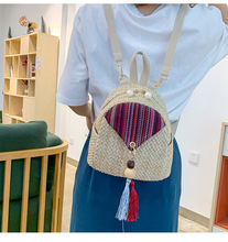 Straw Tassel Small Backpack Fashion Mini Backpacks for Women Weave Female Multifunction Shoulder Bags School