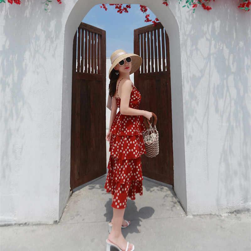 Musim Panas Gaun Pantai Wanita Panjang Spaghetti Strap Gaun Chiffon Vintage Polka Dot Gaun Elegan Vestidos VERANO LWL1752