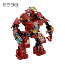 Fit Marvel 76031 Super Heroes Avengers The Hulk Buster Smash Set Ironman Mini Figures Decool 7110 DIY Building Blocks Toy Kids
