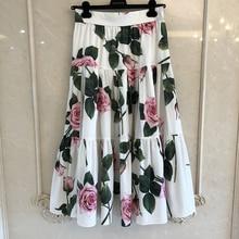 גרנד מעצב חצאיות עבור גברת למעלה איכות יוקרה פרחוני מודפס ארוך אמצע עגל חצאיות עבור גברת 2020