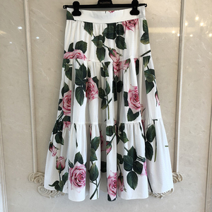 Image 1 - グランドデザイナースカート女性のためのトップ品質の高級花プリントふくらはぎスカート女性のための 2020