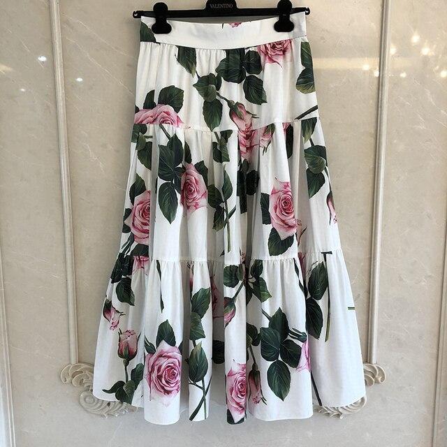 グランドデザイナースカート女性のためのトップ品質の高級花プリントふくらはぎスカート女性のための 2020
