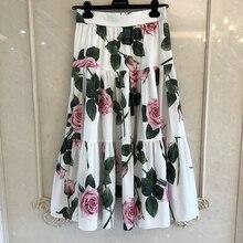 Grand Designer spódnice dla pani najwyższej jakości luksusowe kwiatowe drukowane długie spódnice połowy łydki dla pani 2020