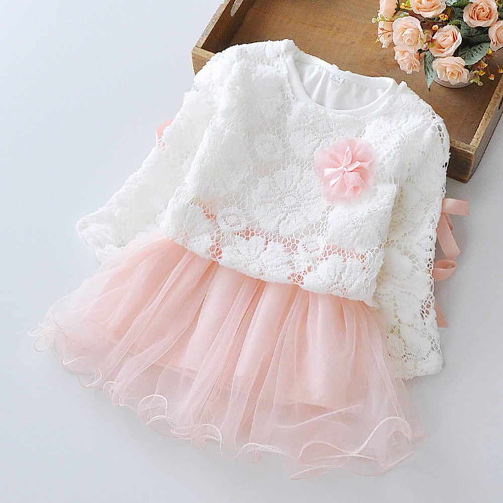 服秋の新長袖のレースのジャケット + メッシュスプライシングドレス 2 個の幼児服 0-2 歳ベビードレス