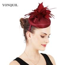 Marron Fascinators Hats Feathers Hair Accessory Party Tea Headwear 4-Layer Sinamay Base For Women Headbands Fashion High Quality