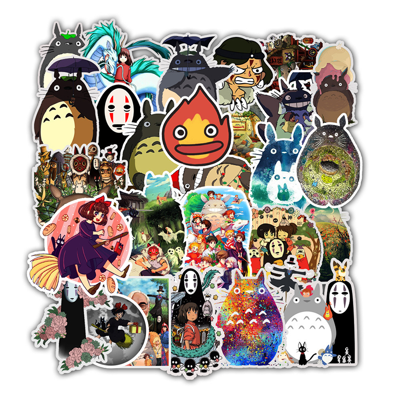 50pcs Stickers Miyazaki Hayao Anime Sticker My Neighbor Totoro/Spirited Away For Skateboard Bicycle Laptop Waterproof Decals F4