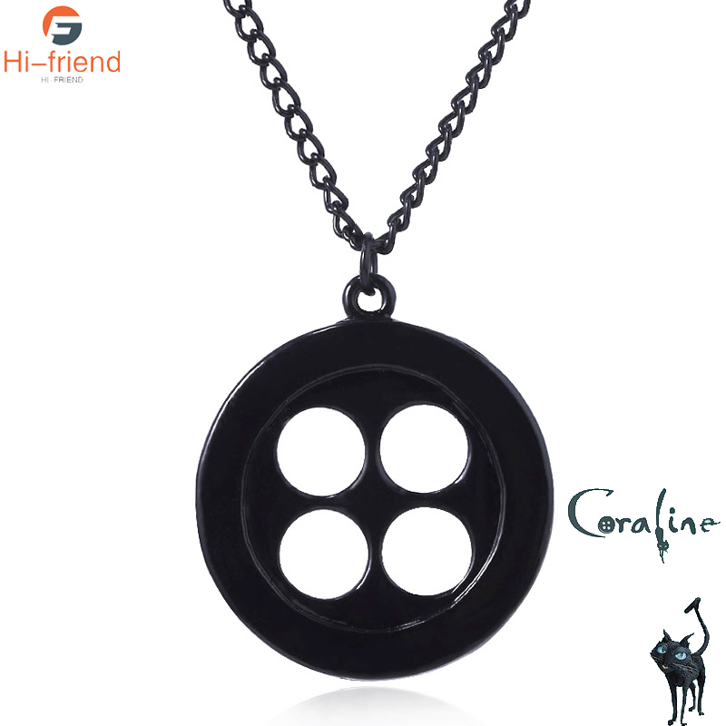 Movie Coraline The Secret Door Caroline Button Necklace Button Mama Men S And Women S Jewelry Pendant Accessories Gift Pendant Necklaces Aliexpress