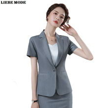 Ladies Black Grey Business 2 Piece Set Short Sleeve Jacket Skirt Suits for Women Summer Formal Outfit Female Office Work Clothes