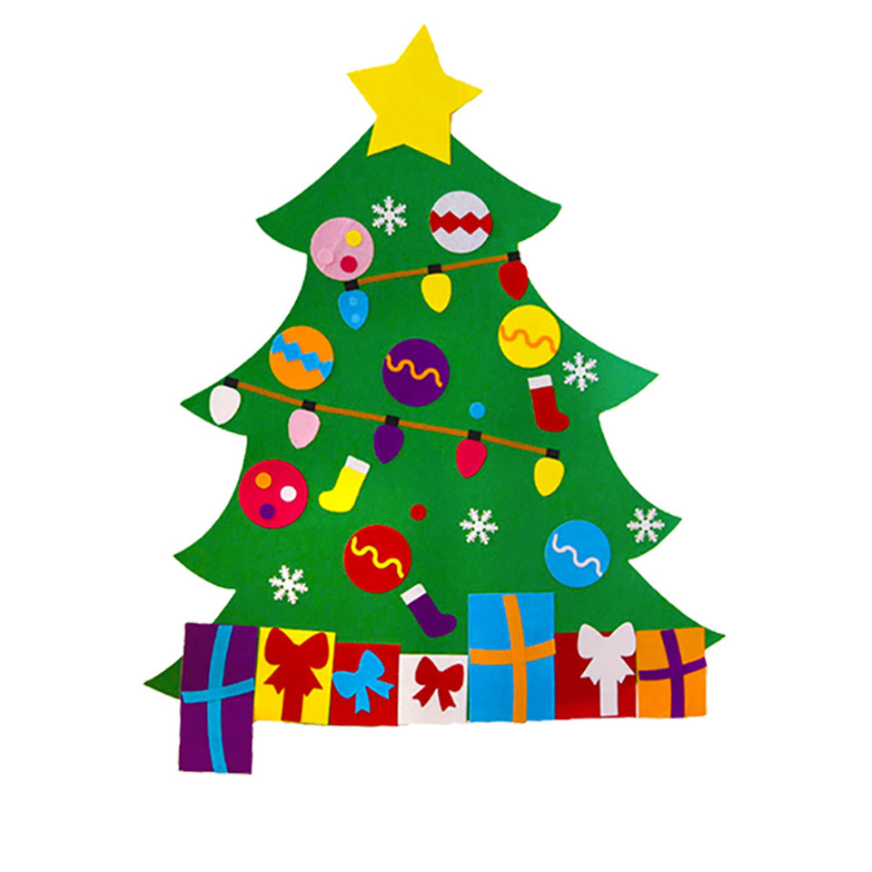 Toddler Christmas Tree.Felt Christmas Tree With Ornaments 2019 Toddler New Year Toys Diy Craft Artificial Tree Christmas Decoration For Home Hot A30819