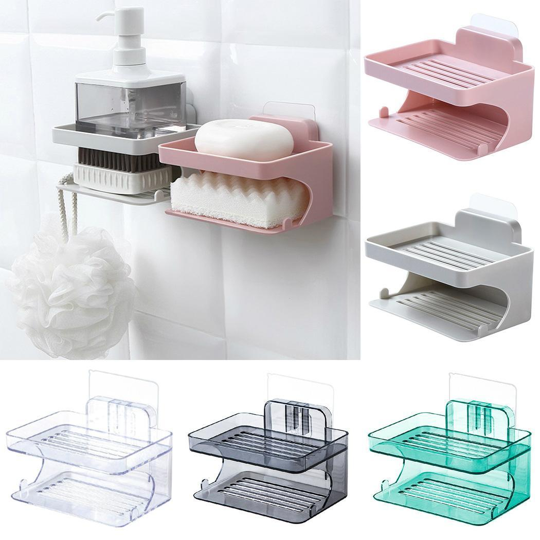 Double-layers Bathroom Soap Drain Rack Wall Storage Green/Black/Pink/Transparent/Gray Rack 130g Shelf 5 Color Rack For Home