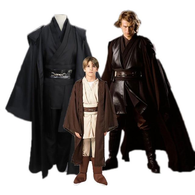 2021Anime Star Wars Jedi Costume Adult Children Mace Windu Obi Wan Kenobi Anakin Skywalker Cloak Ahsoka
