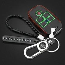 Luminous Leather car key case For Kia Rio QL 3 Picanto Ceed Cerato Forte Sportage R K2 K3 K4 K5 For Hyundai i20 i30 ix35 new silicone key cover for kia rio k2 k5 sportage sorento fit i20 i30 i35 ix20 ix35 solaris verna folding key case