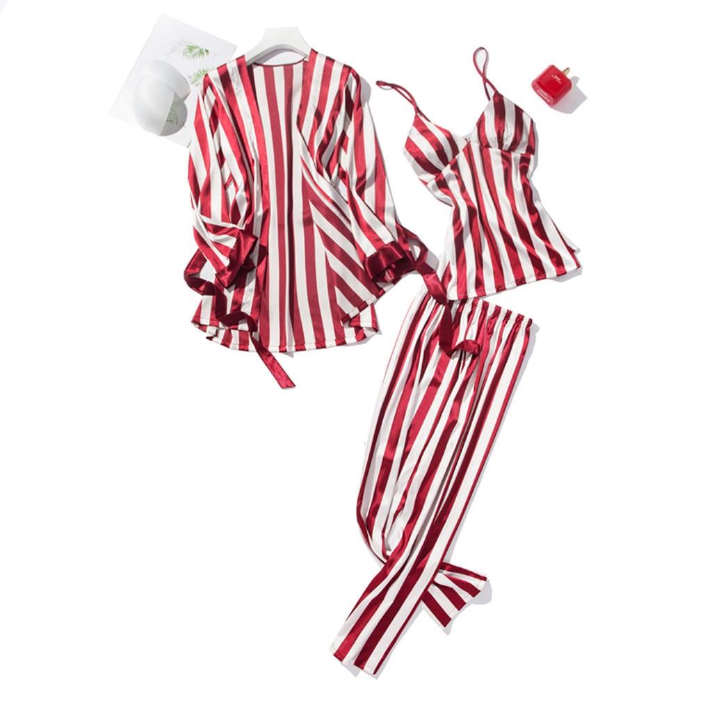 Women's Sleepwear Pajamas 3 Pieces Fashion Striped Pajamas Sleepwear Home Wear Home Clothing Female Long Trousers Nightwear