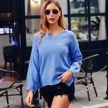 цена на ALLNeon Fashion V-neck Sweaters Loose Shaggy Cut out Slit Hem Knitted Pullover 2019 Fall Ladies Jumper Long Sleeve Sweater Pull