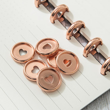 6PCS Heart Colorful Round Rings Plastic Mushroom Hole Loose Leaf Ring Book Binding Disc Buckle Hoop DIY Binder Notebook Office