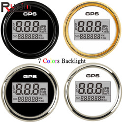 52mm Boat Car Digital GPS Speedometer Odometer 0-999 knots km/h mph Waterproof GPS Speed Odometers with 7colors Backlight 9-32V
