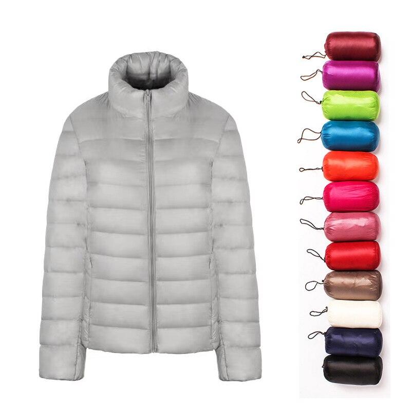 Plus Size 6XL 7XL Duck Down Jacket Woman Ultra Light Down Jackets For Woman Long Sleeve Parkas Fabric Zip Coat Windbreaker
