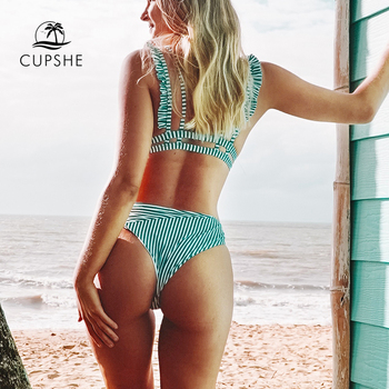 CUPSHE Cyan And White Stripe Double Straps Ruffle Bikini Sets Women Sweet Two Pieces Swimsuits 2020 Girl Beach Bathing Suits 5