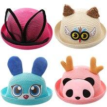 Children Hats Summer Girls Panama Hat Cartoon Lovely Kitty Straw Caps For Boys Baby Sun