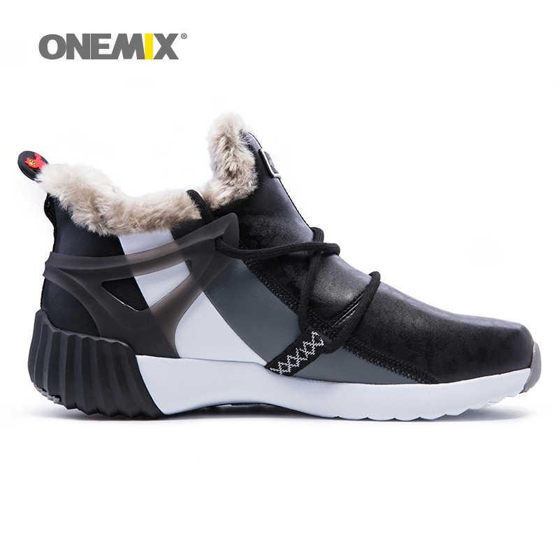 ONEMIX الرجال الشتاء الثلوج الفراء التمهيد الدفء الرجال أحذية رياضية أحذية مريحة احذية الجري المشي في الهواء الطلق الرياضة المدربين المبيعات