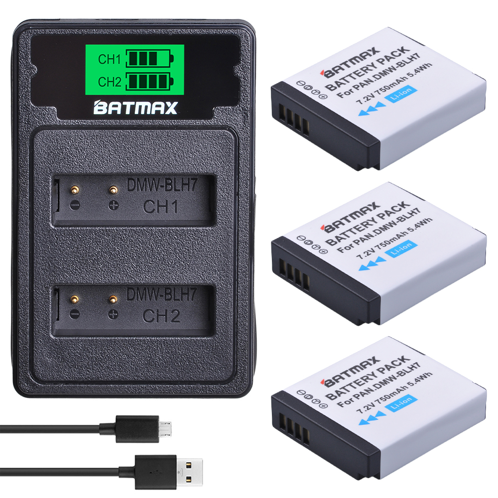 DMW-BLH7 BLH7E DMW-BLH7PP Battery+LCD USB Dual Charger For Panasonic Lumix DMC-GM5,DMC-GF7,DMC-GF8, GF9, LX10, LX15