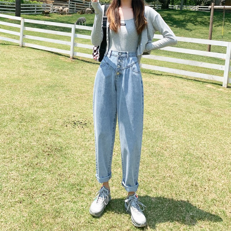 Summer Wome Harem Jeans Pants Loose Summer High Waisted Buckle Wide Leg Boyfriend Jeans for Women Soft Denim Trousers Pants