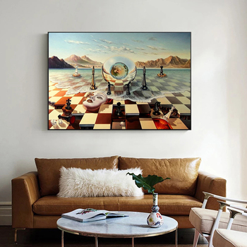 Salvador Dali Abstract Weird Canvas Painting Surrealism Chess Mask On Sea Poster Print Wall Art for Living Room Wall Decoration 3