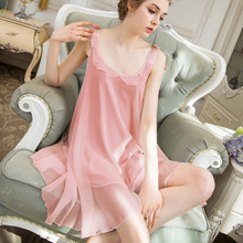 Roseheart Women Fashion Female Pink White  Sexy Sleepwear Night dress Nightwear Nightgown Homewear Luxury Gown Modal