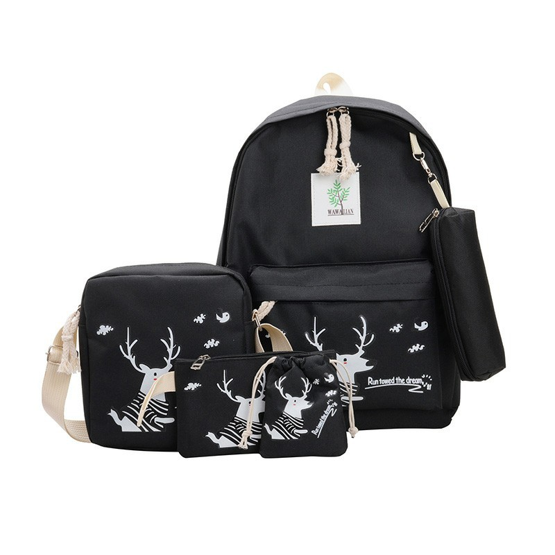 5pcs School Bag Set Cartoon Deer Prints Women Backpack College Backpacks Travel Bag Fashion  Teenager Bookbag For Girls 17inch