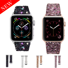 2020 Leather Band for Apple Watch 38mm 40mm Women Bling Diamond 42mm 44mm Genuine Shiny Glitter Strap iWatch Series 5 4 3 2 1