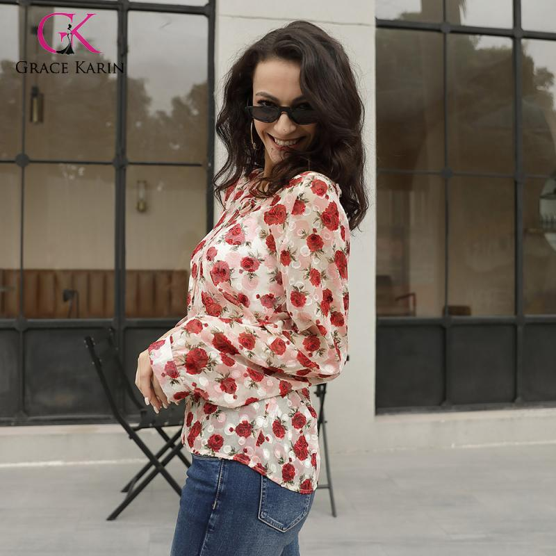 Grace Karin New Fashion Shiffon Women Blouse Summer Shirts Print O Neck Casual Shirts Womens Tops And Blouses Plus Size 2XL