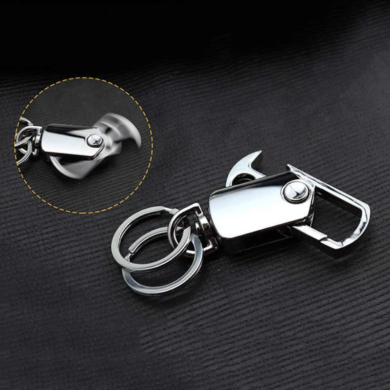 Lujo hombres negocios cintura hebilla multifunción abridor de botellas Metal coche llaveros Regalos giratorios llaveros colgante anillo personalizado