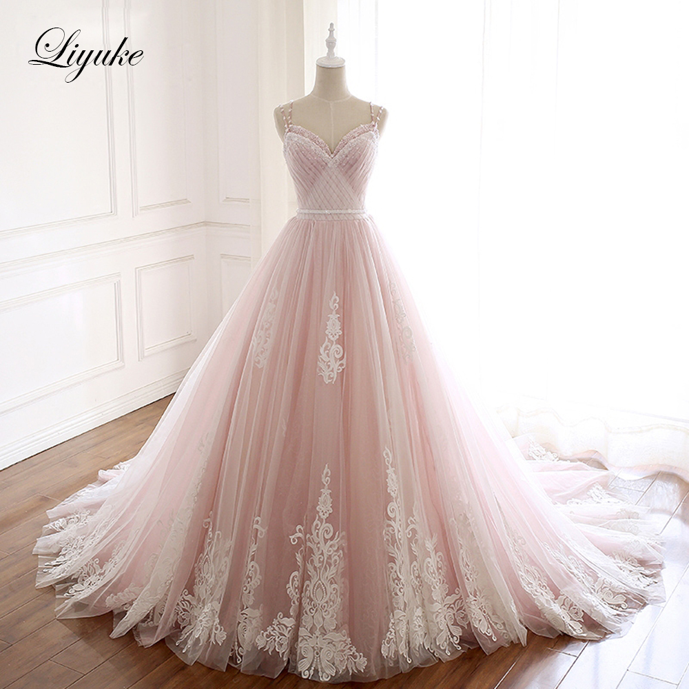 Liyuke Naked Pink A Line Wedding Dress With Pleated Tulle Gorgeous Lace Bridal Dress Rhinestones