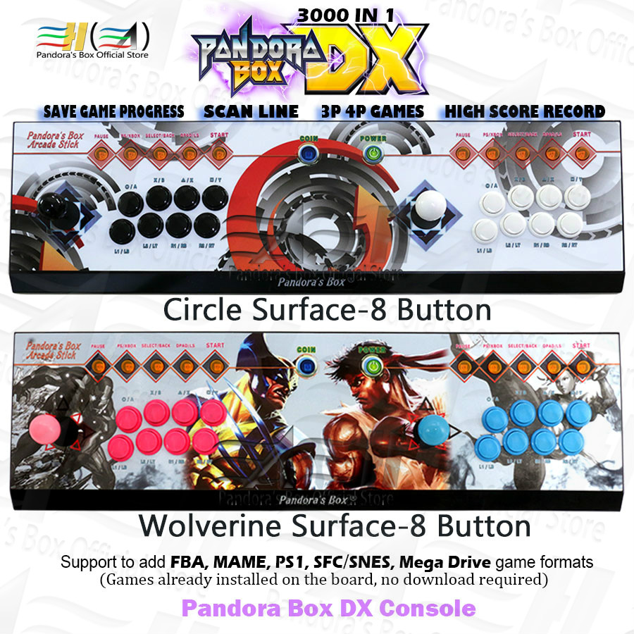 2020 Pandora Box DX 8 Button Custom 3000 In 1 Arcade Game Console Save Game Progress High Score Record Support 3P 4P Games