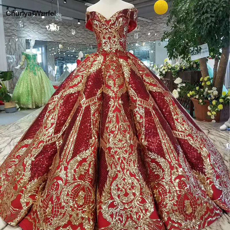 LSS124 luxury floor length queen prom dresses red curve shape ball gown golden lace evening party
