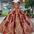LSS124 lujo longitud del piso reina vestidos para fiesta de graduación en rojo forma curva bola vestido de encaje dorado vestidos de fiesta de noche brillo envío gratis