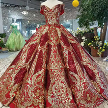 LSS124 luxury floor length queen prom dresses red curve shape ball gown golden lace evening party dresses glitter free shipping(China)