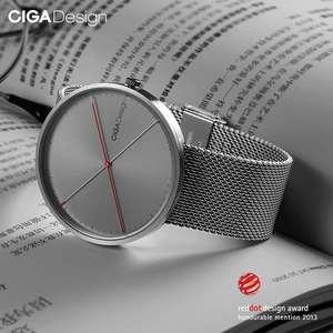 Image 3 - CIGA conception CIGA montre CIGA montre à Quartz Simple montre à Quartz ceinture en acier point rouge conception prix montre montres de mode pour hommes