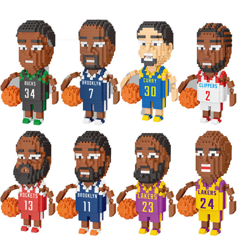 Micro Nbain Giocatore di Basket Mini Building Blocks Figura Del Diamante Mattoni Giocattoli Fai da Te Educativi Modello Harden Curry Kobe James