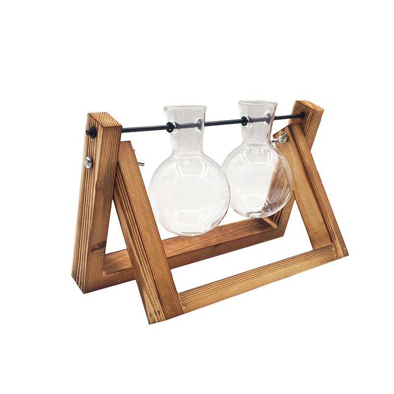 Террариум креативный гидропонный завод прозрачная ваза деревянная рамка ваза декоративная стеклянная настольная растение бонсай Декор ваза для цветов - Цвет: 21x16cm
